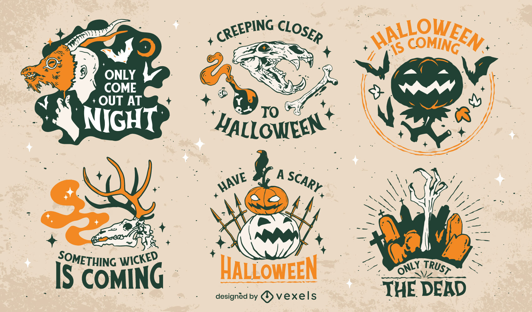 Set of halloween badges illustration