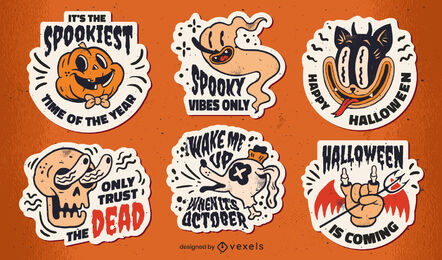 Halloween stickers set retro cartoon