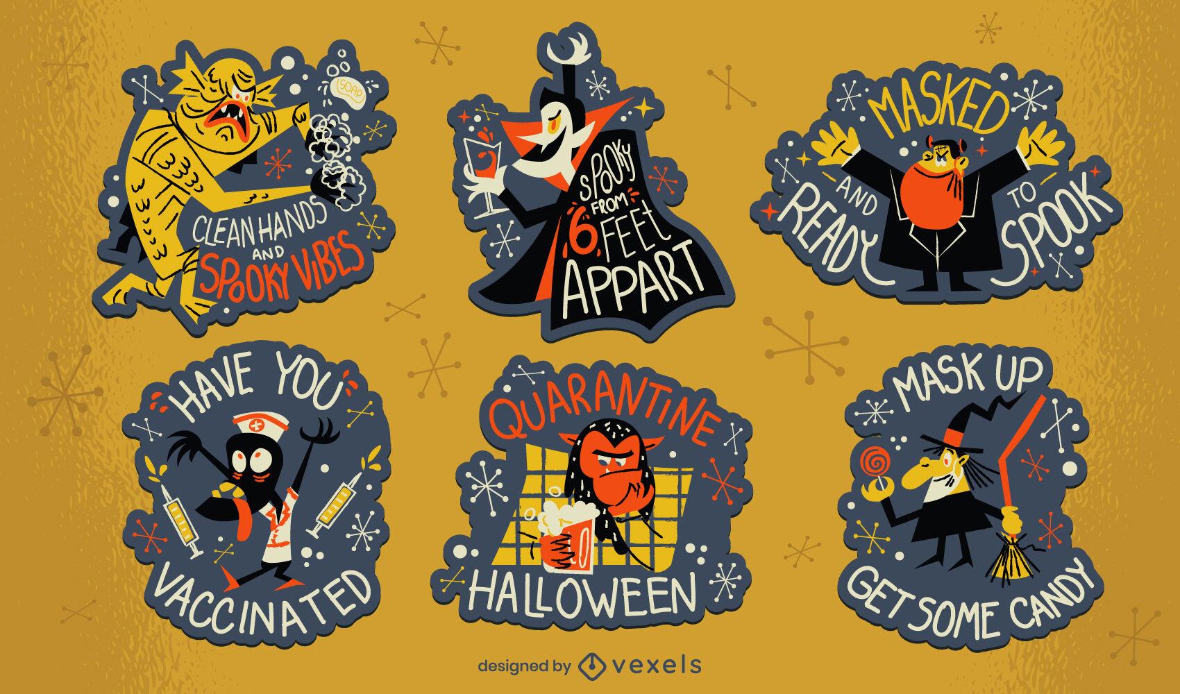 Halloween pandemic set of badges