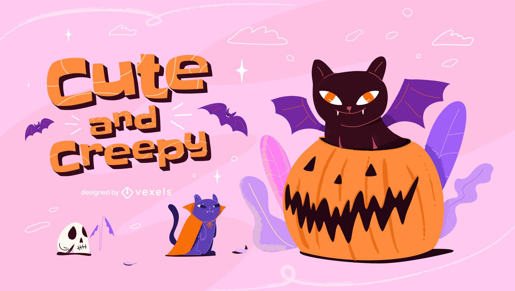 Ilustração de halloween de gato fofo e assustador