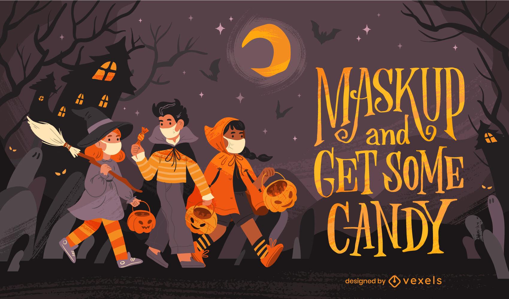 Kinder in Kostümen Halloween-Illustration