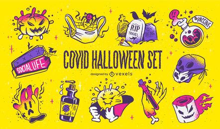 Conjunto de elementos de halloween covid