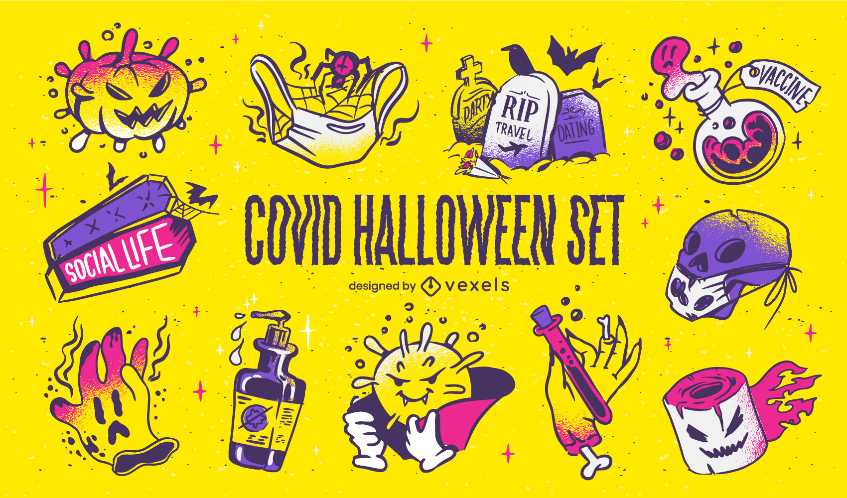 Halloween covid set of elements