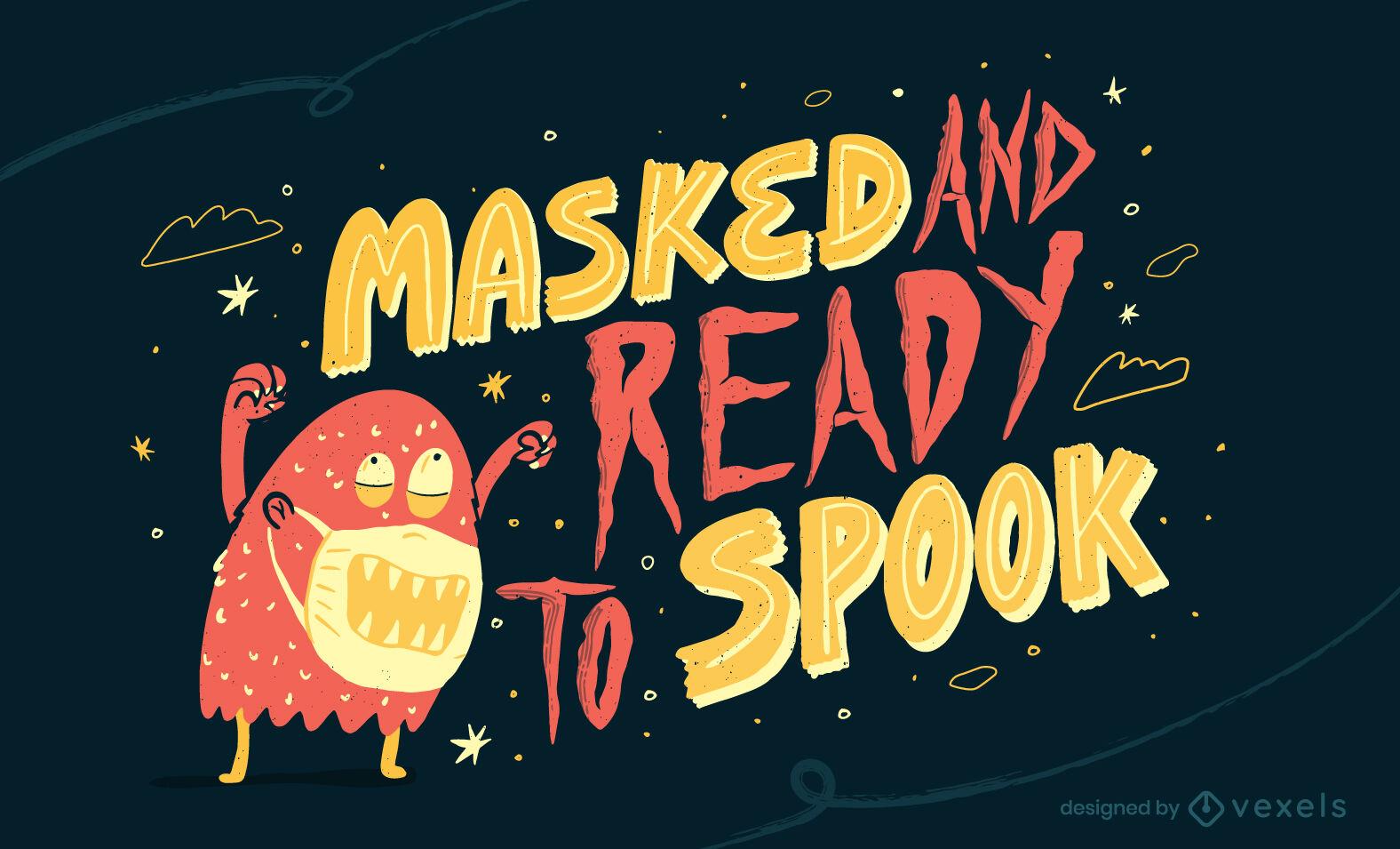 Monstruo de halloween con ilustraci?n de m?scara de covid