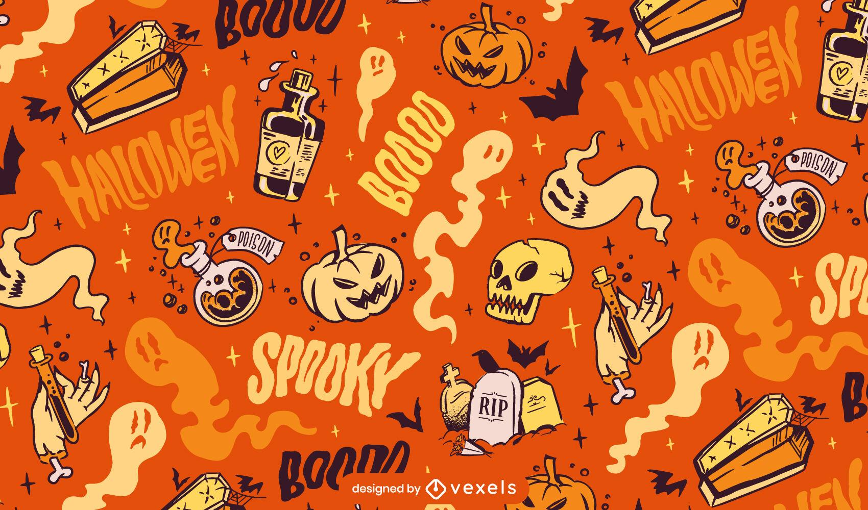 Diseño de patrón de abucheo de elementos de Halloween