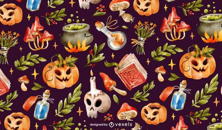 Halloween realistic elements pattern