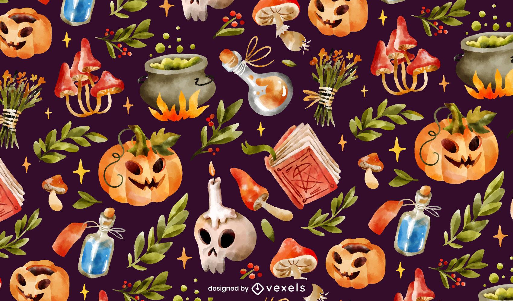 Patrón de elementos realistas de halloween