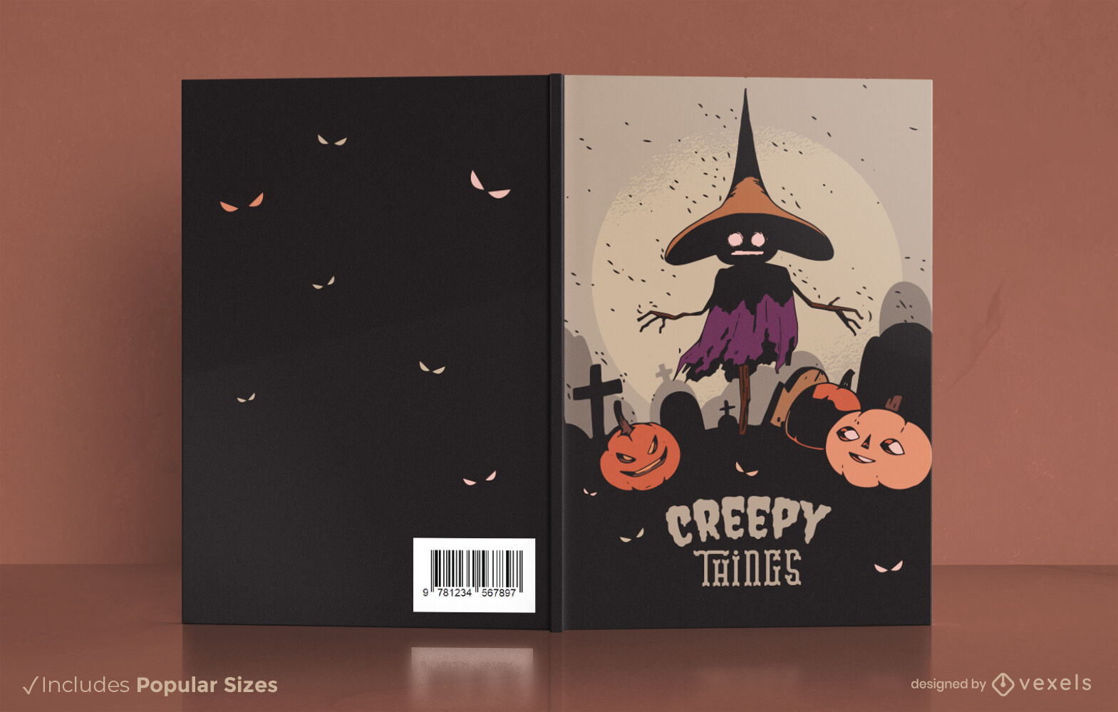 Dise?o de portada de libro de halloween espantap?jaros