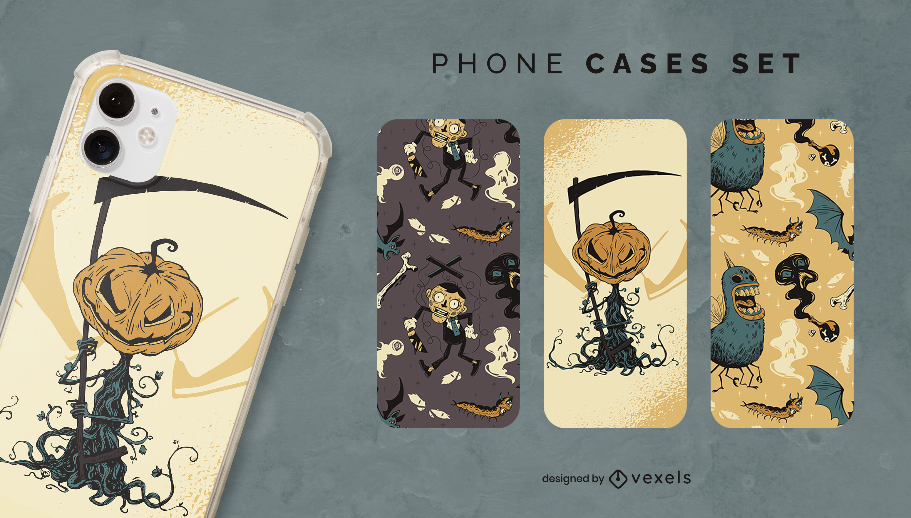 Conjunto de capas de telefone com personagens assustadores do dia das bruxas