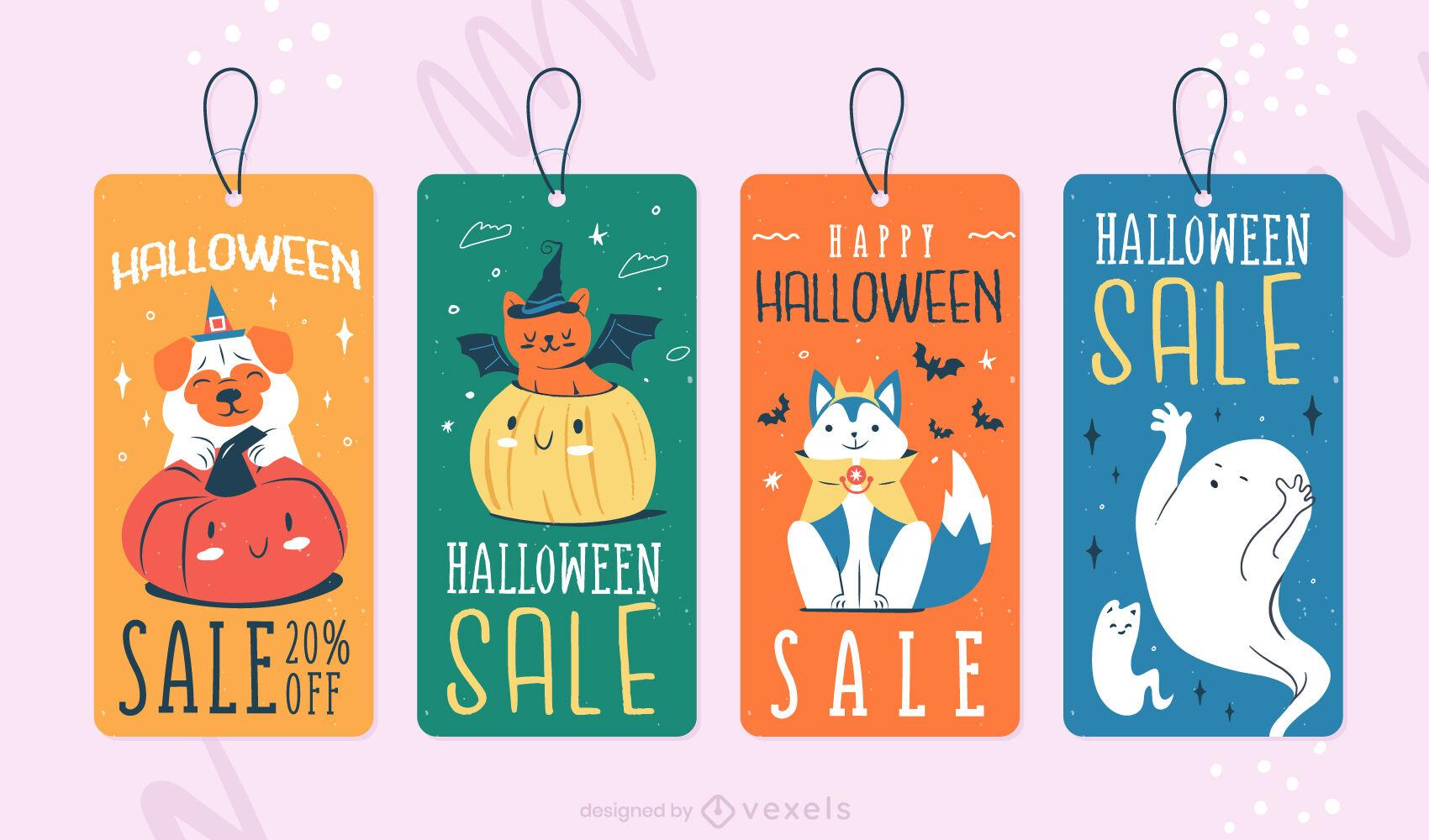 Lindo conjunto de animales de etiquetas de precio de halloween