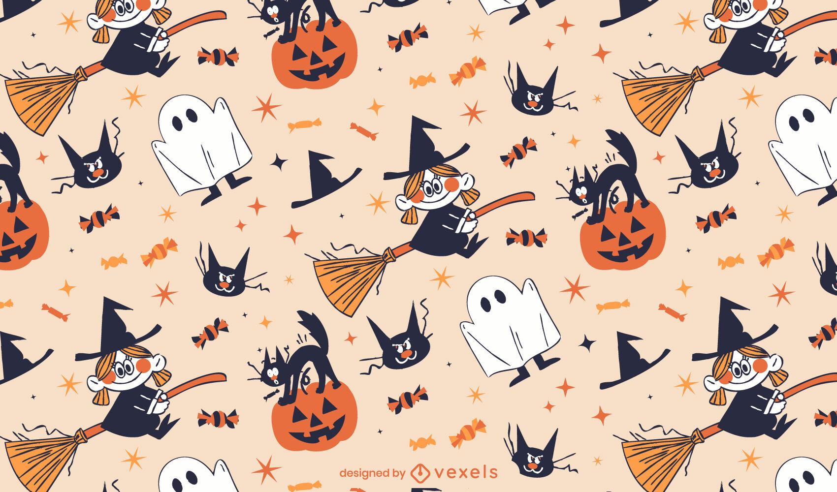 Halloween retro cartoon pattern