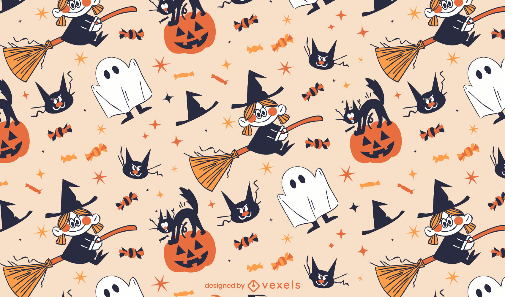 Patr?n de dibujos animados retro de Halloween