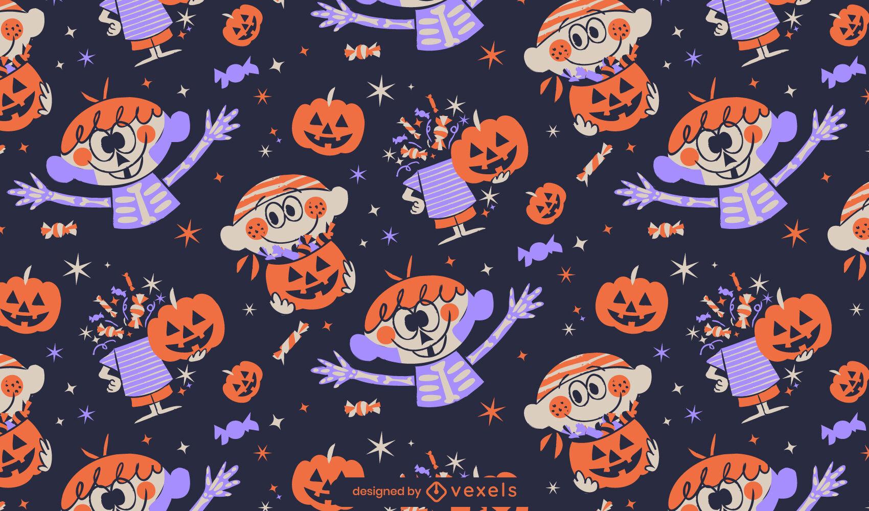 Retro cartoon halloween pattern