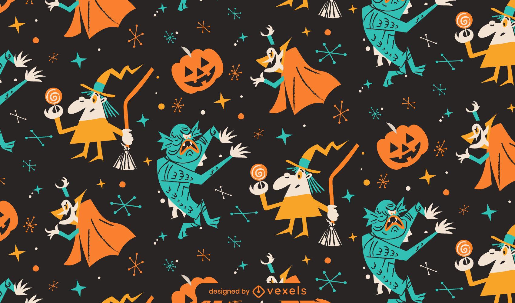 Patr?n de dibujos animados retro de monstruos de Halloween