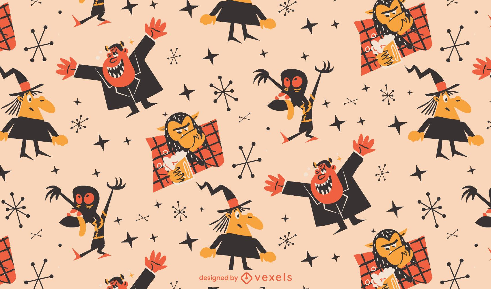 Dibujos animados retro de monstruos de patrón de Halloween