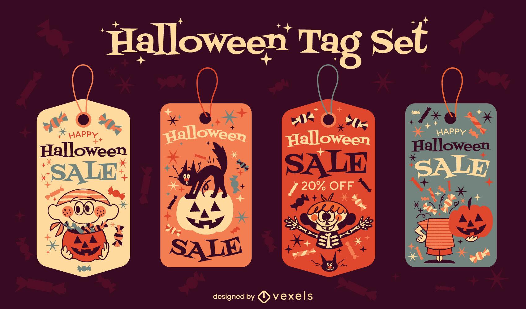 Halloween children doodle price tag set