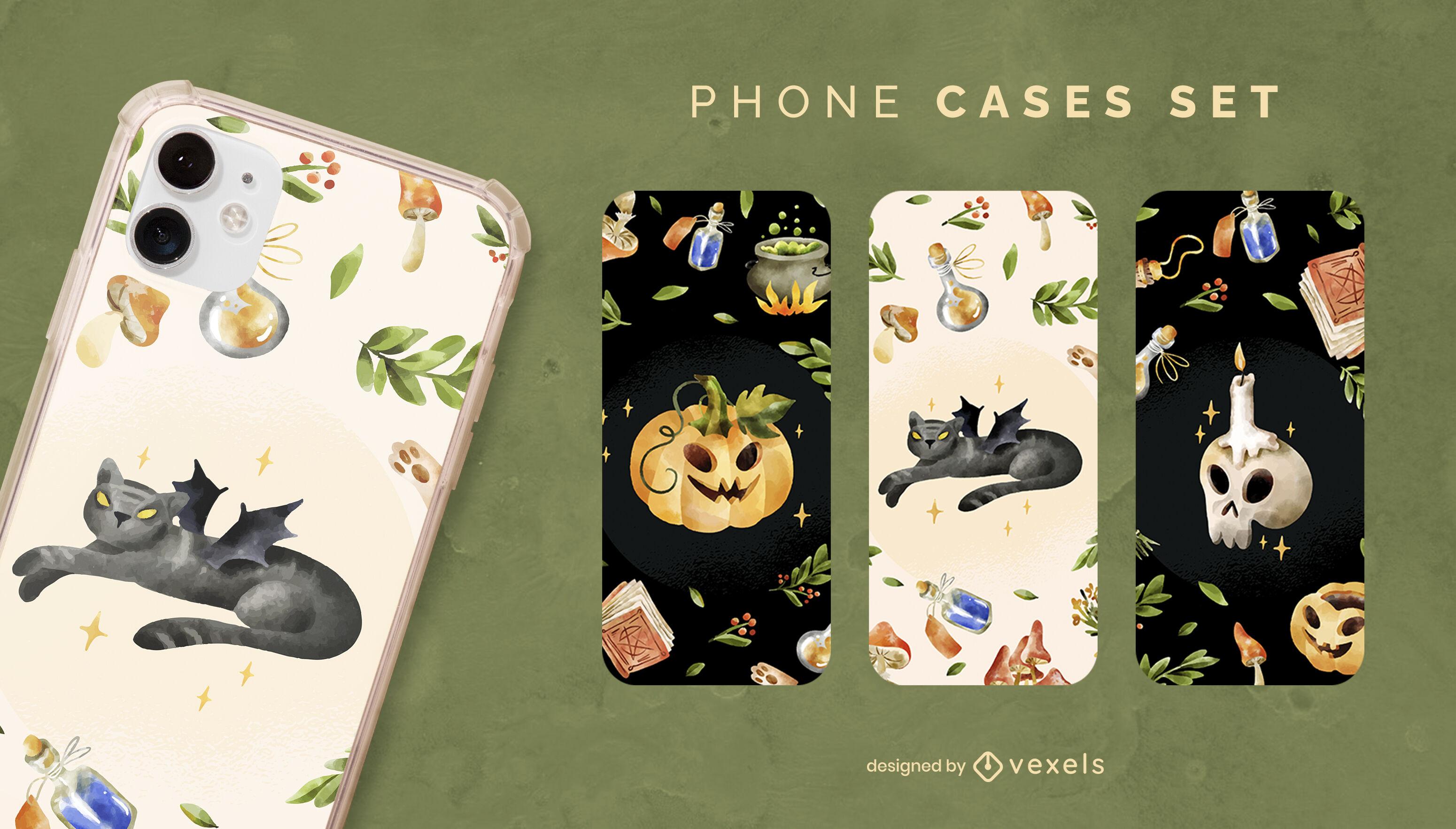 Conjunto de fundas de teléfono con elementos de halloween realistas