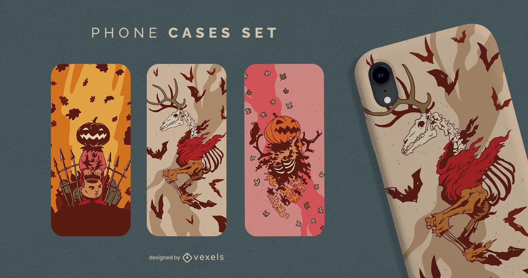 Conjunto de capas de telefone assustadoras com personagens de Halloween