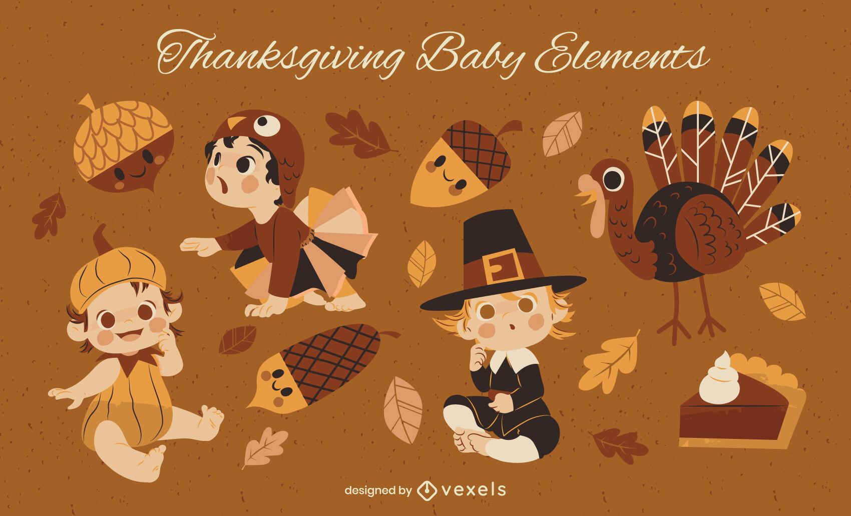Conjunto de elementos de lindo bebé de vacaciones de acción de gracias