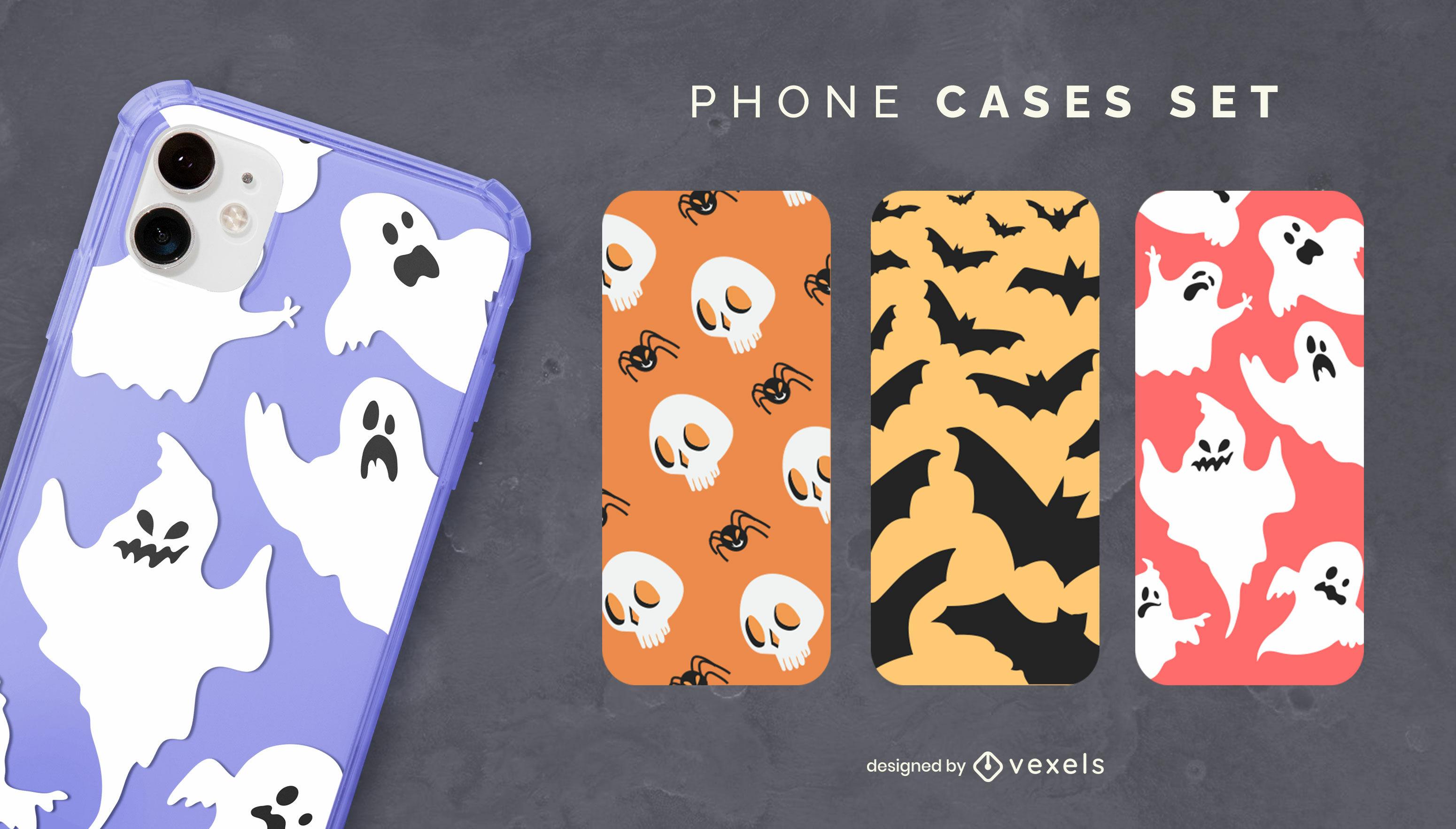 Cajas del teléfono de patrón plano de Halloween