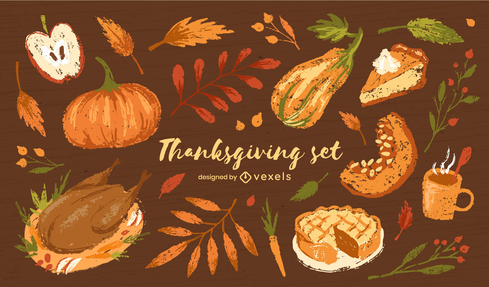 Thanksgiving holiday food elements set