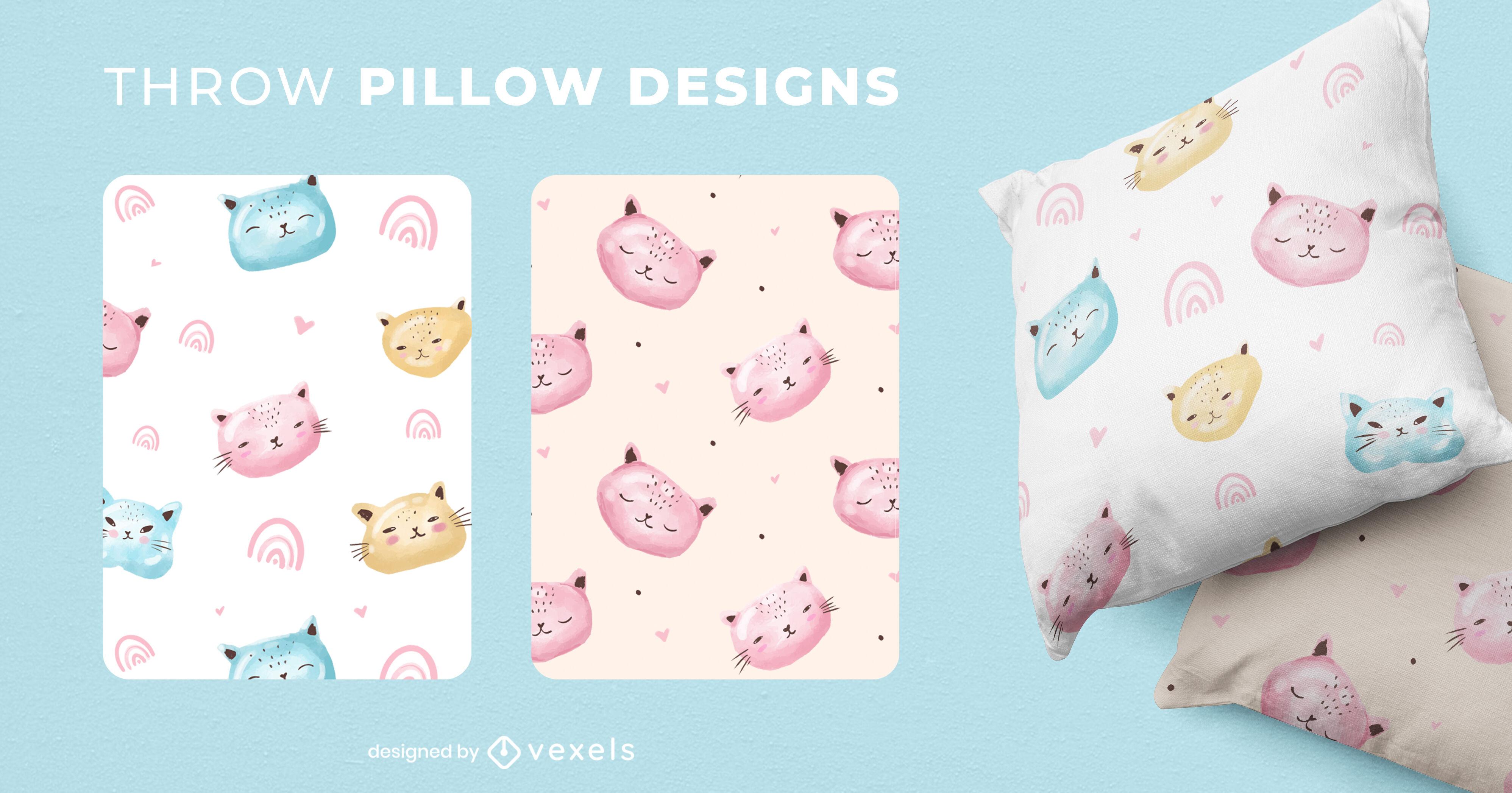 Cute cat animals throw pillow design