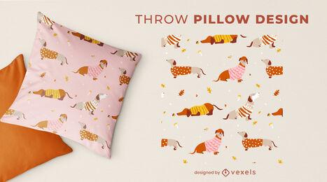Cute dachshund dog throw pillow design
