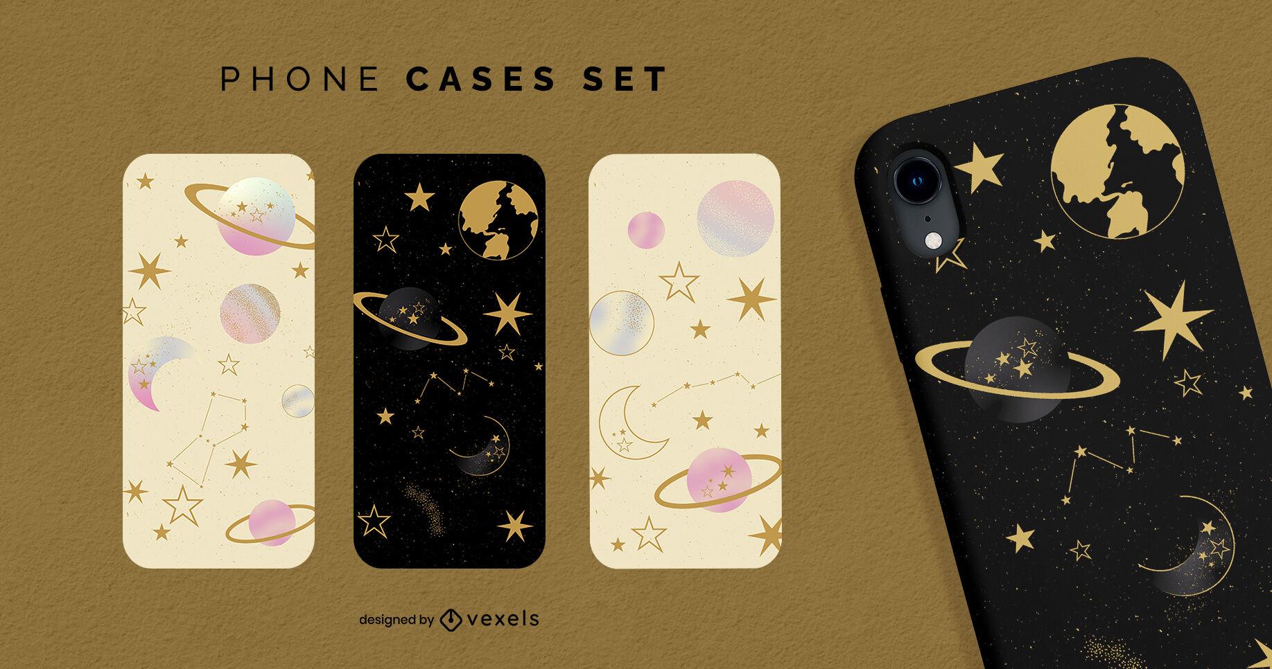 Set de fundas de teléfono con degradado de planetas y estrellas