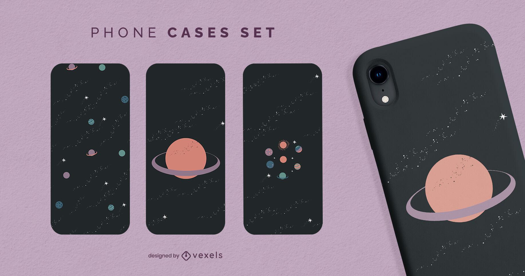 Conjunto de capas para telefones espaciais minimalistas