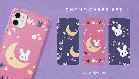 Nightime rabbits cute phone case set