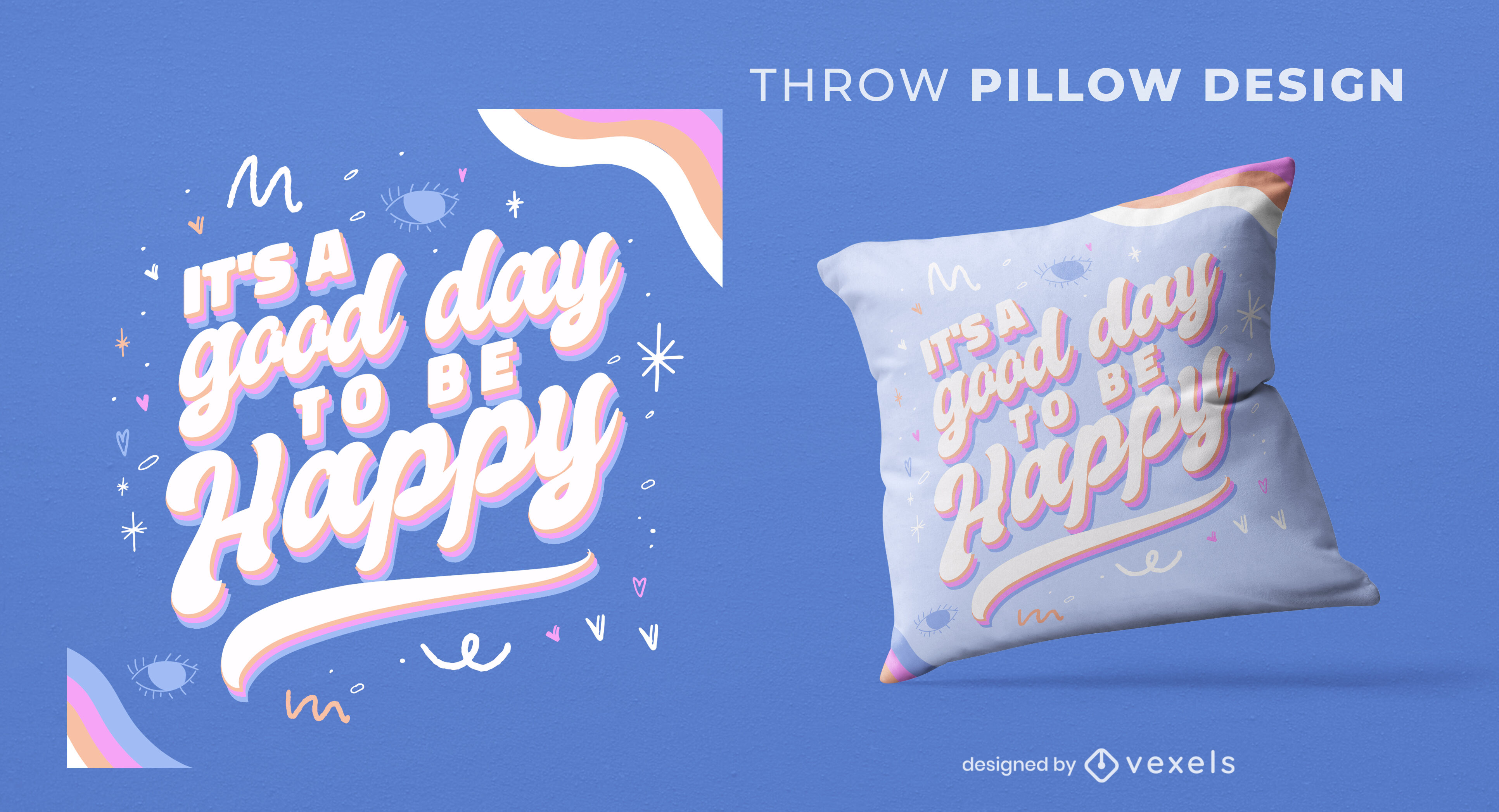 Happy day quote throw pillow design