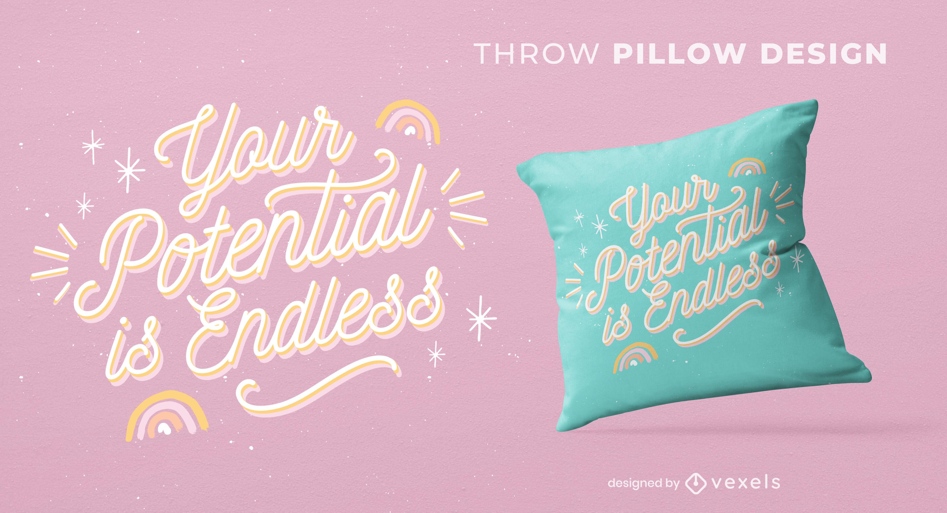 Diseño lindo de la almohada del tiro de la cita motivacional