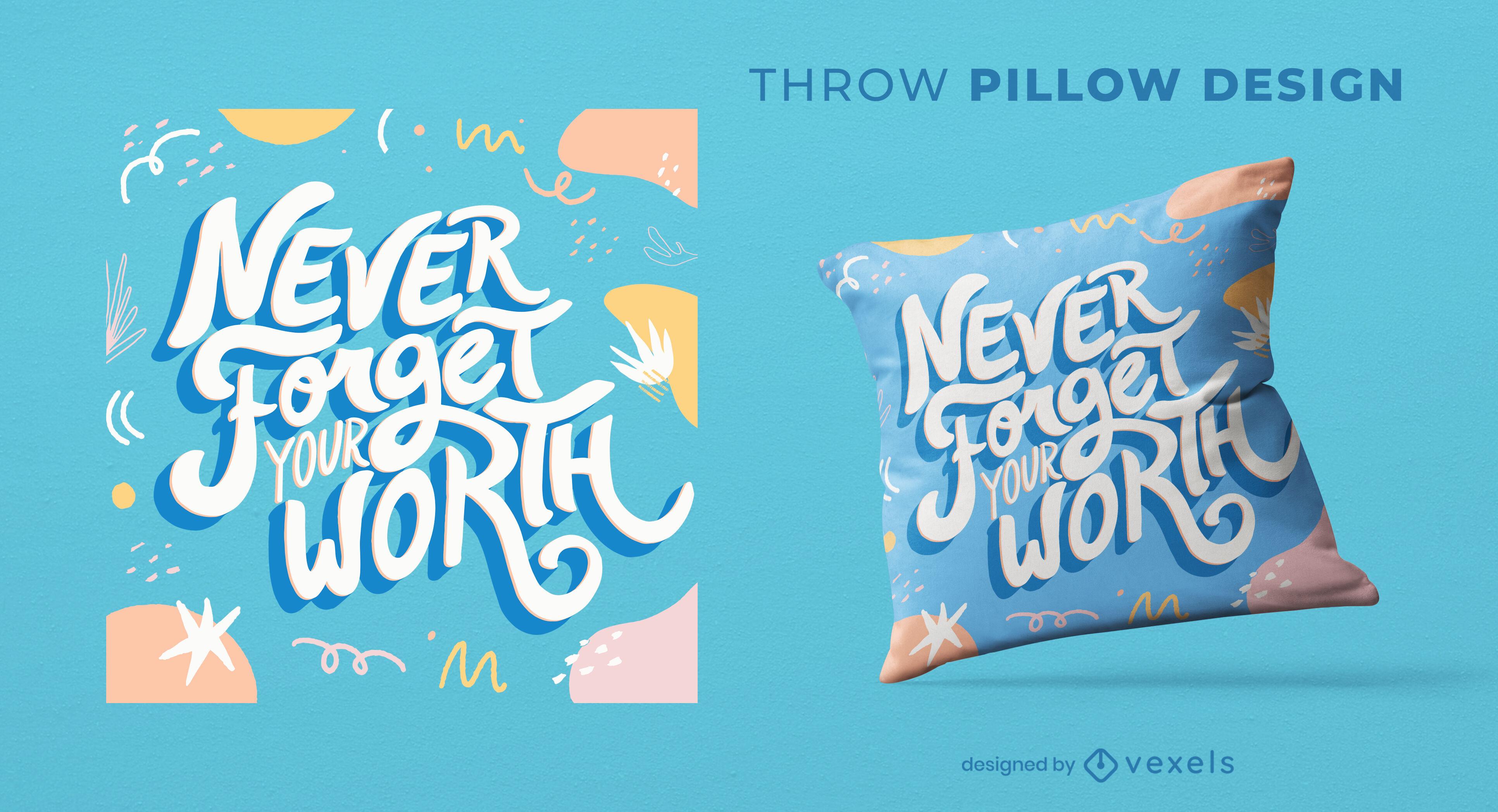 Motivational quote doodles throw pillow design