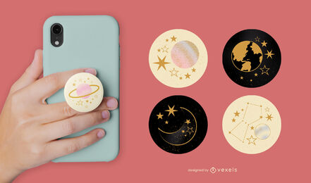 Space stars and planets popsocket set