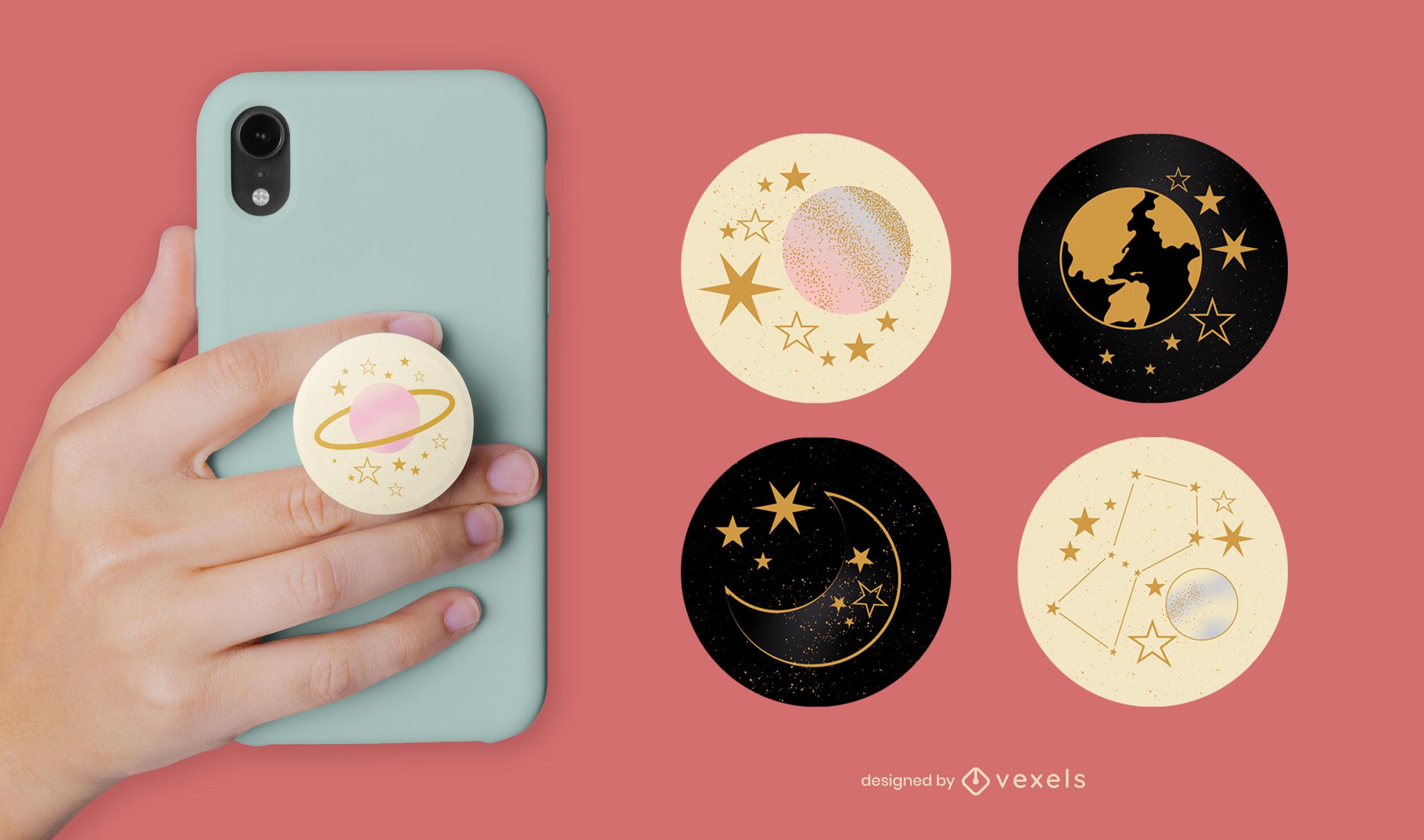 Conjunto de popsocket de estrelas e planetas do espaço