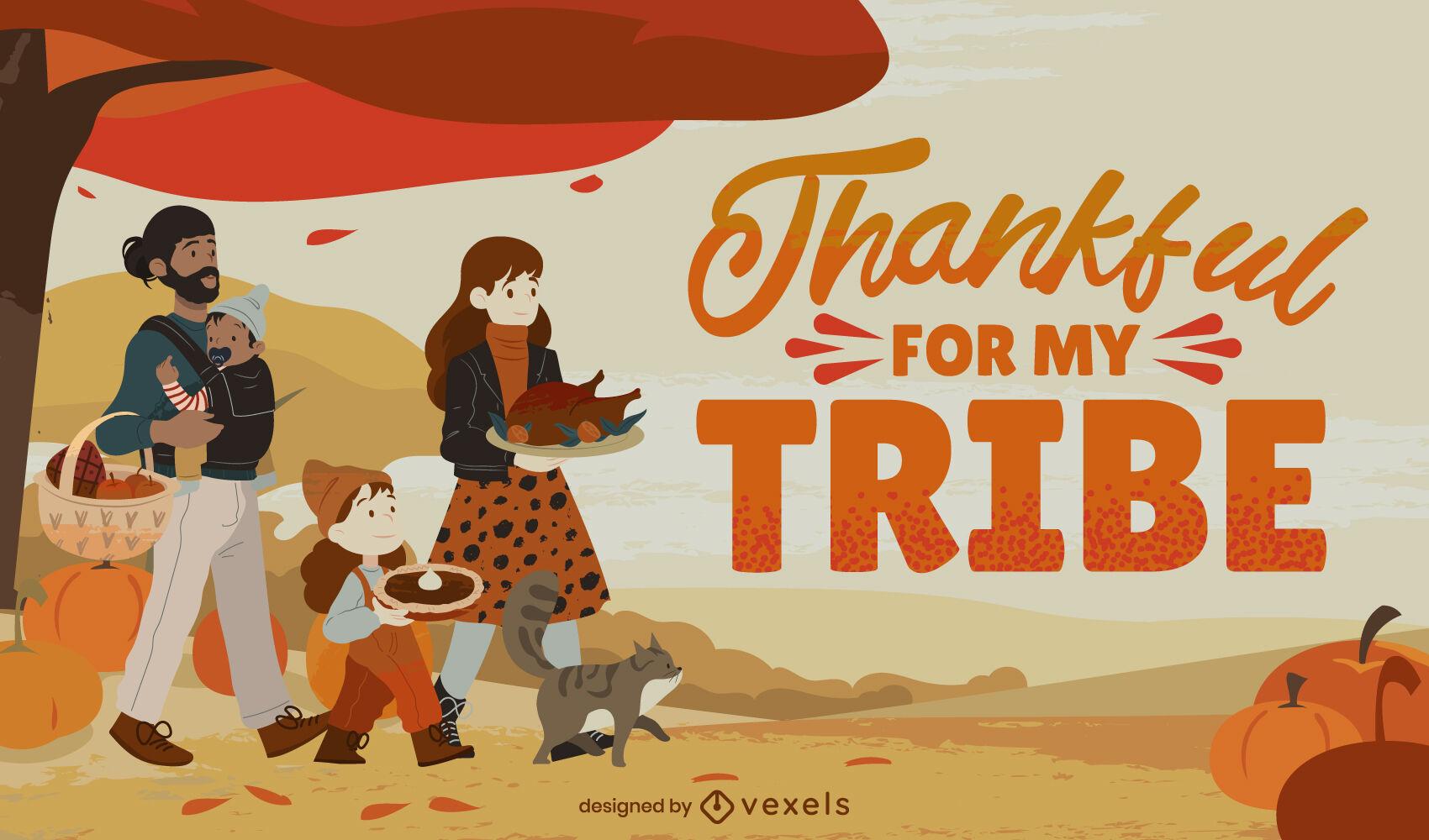 Ilustração de feriado em família no Dia de Ação de Graças