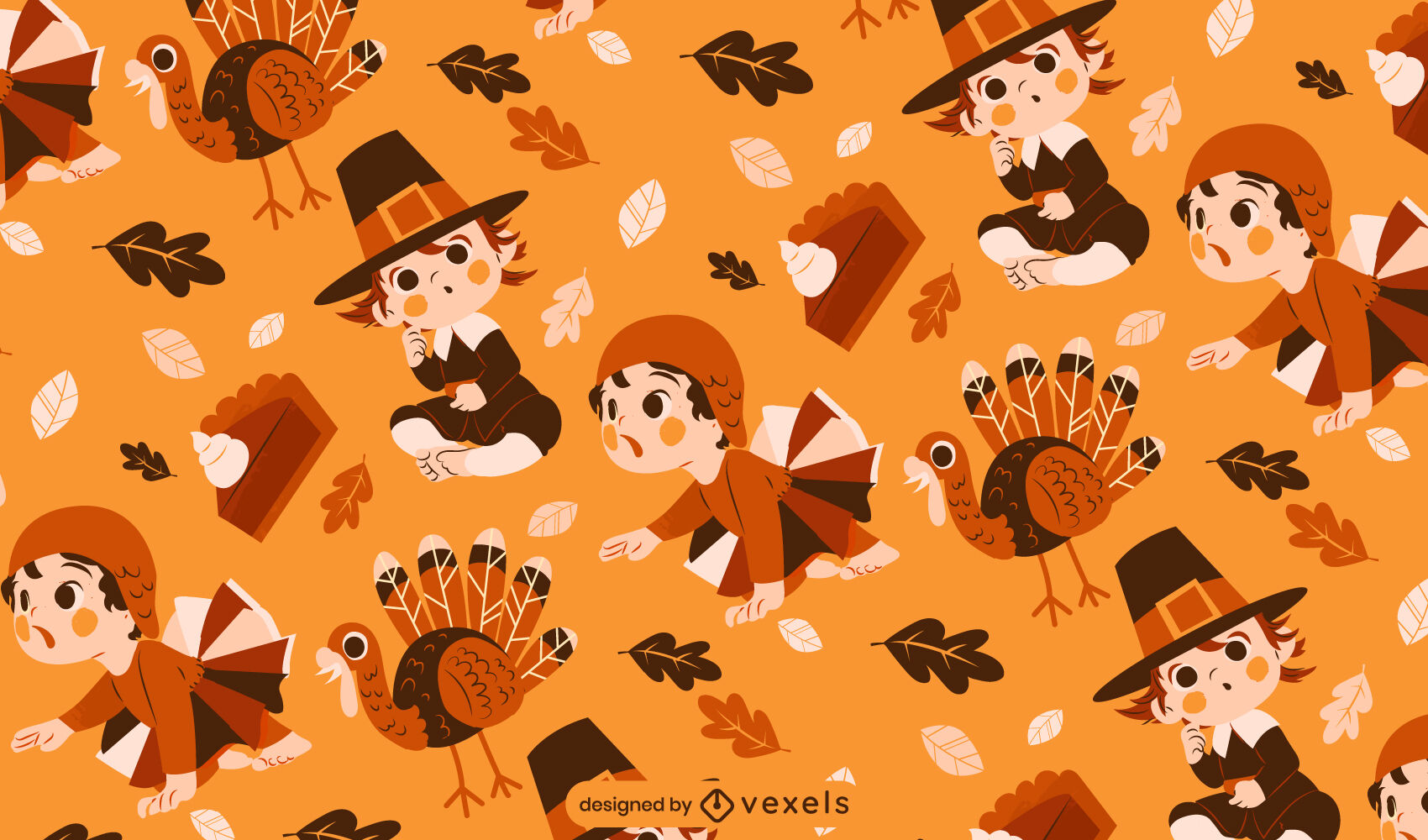 Thanksgiving babies and turkey pattern design