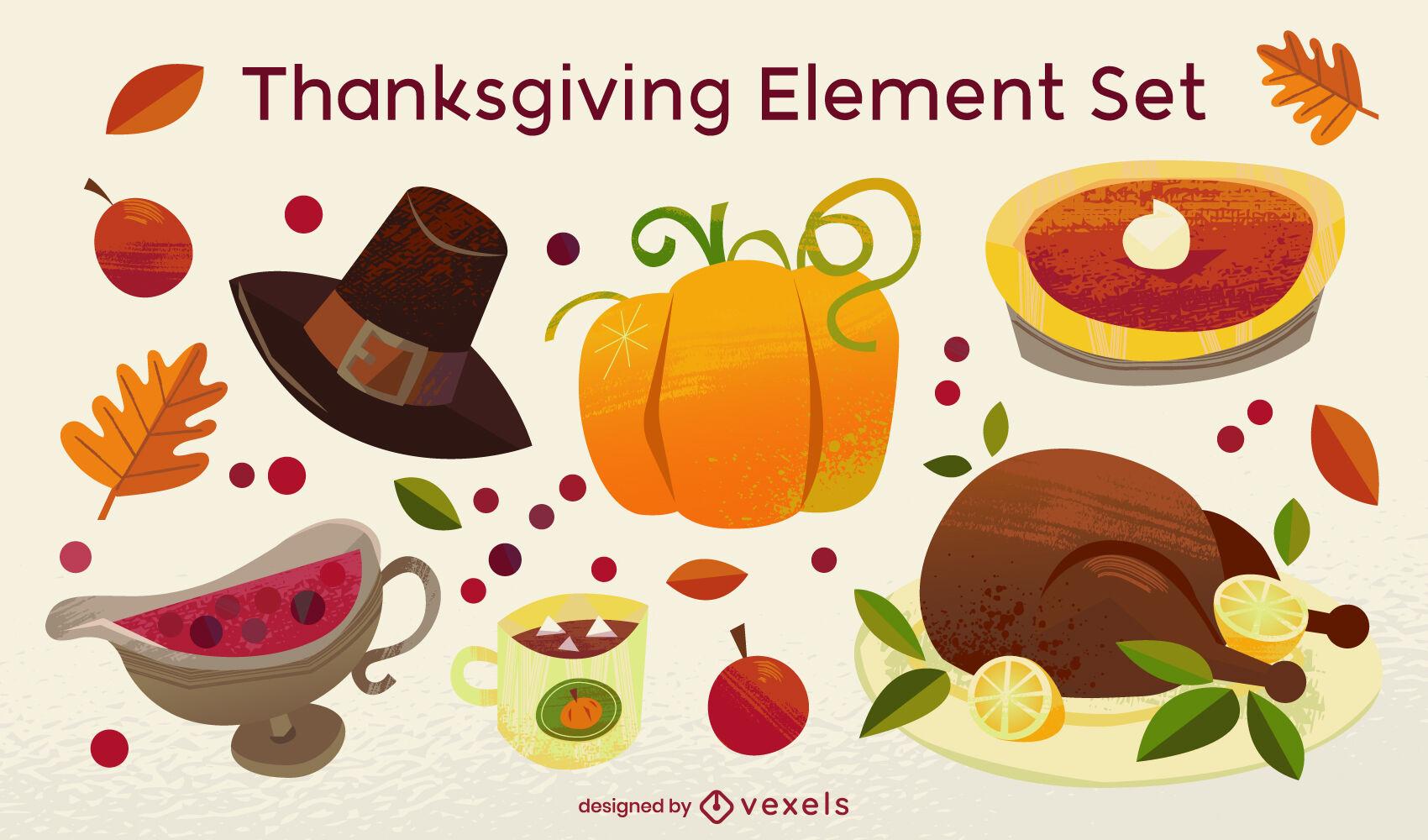 Conjunto de elementos de comida de vacaciones de acción de gracias
