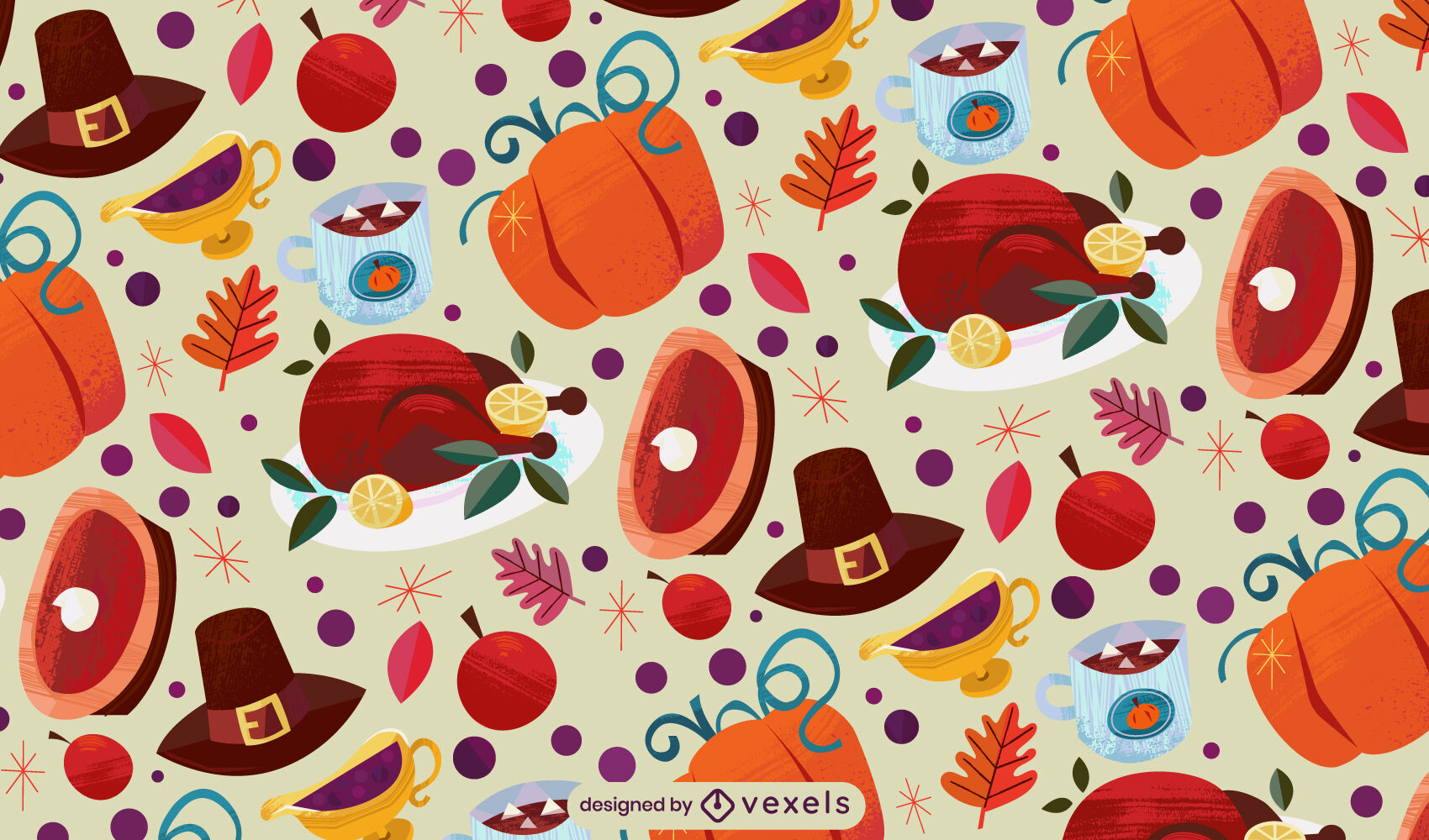 Thanksgiving traditional food pattern design