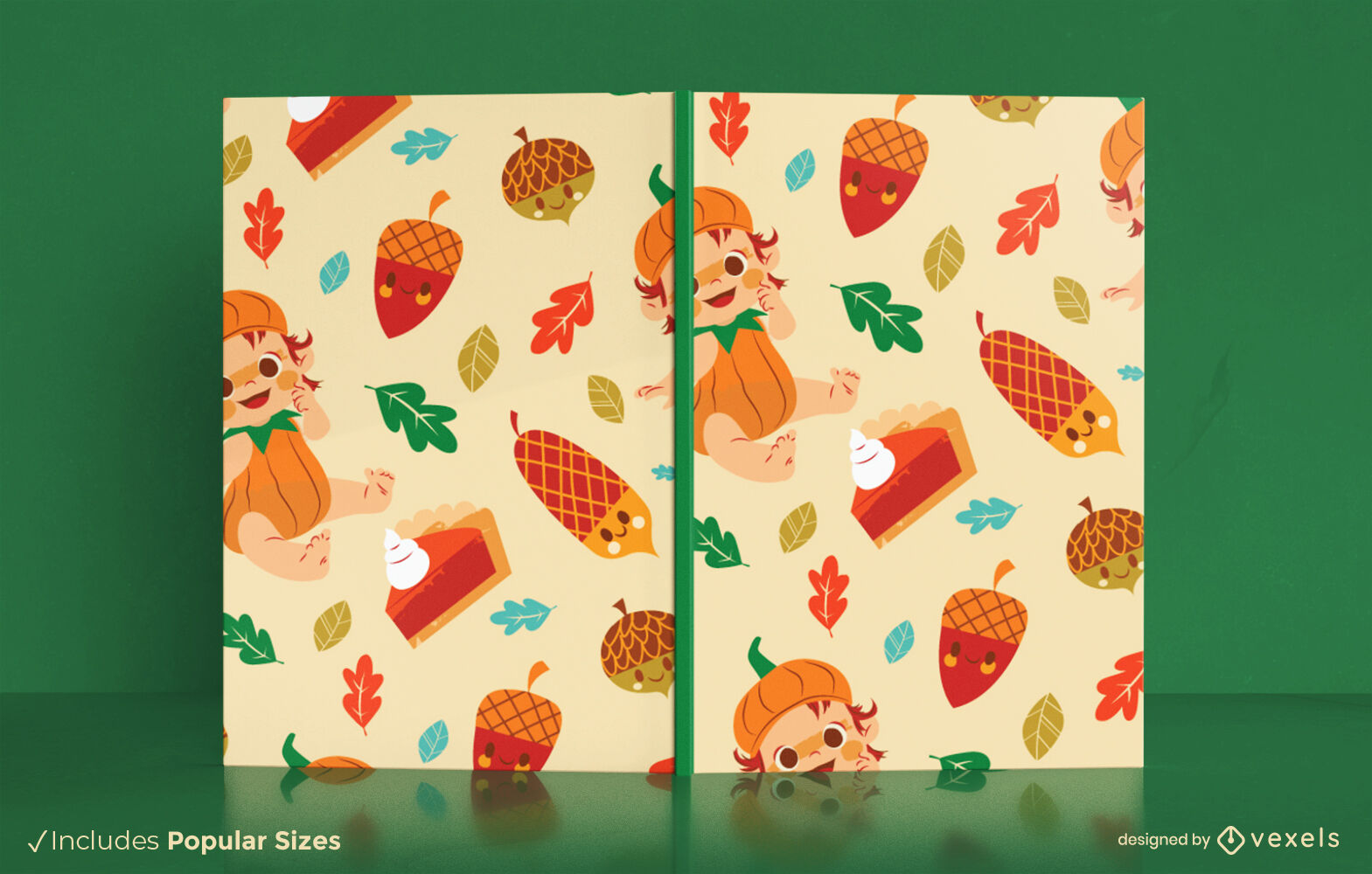 Autumn season baby cute book cover design