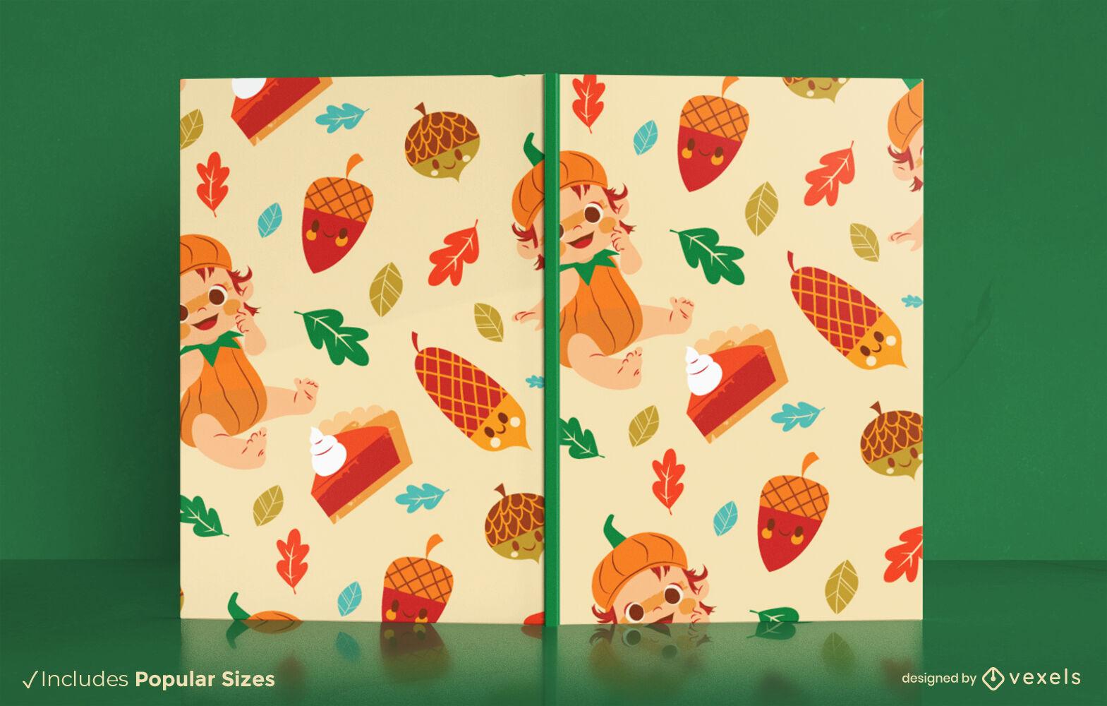 Design de capa de livro fofa para bebê na temporada de outono