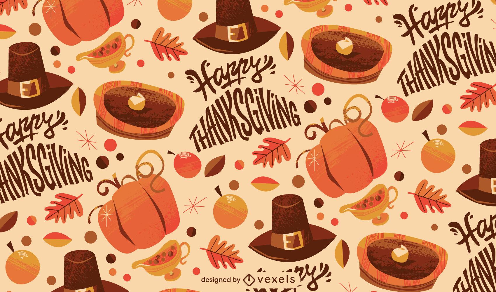 Diseño de patrón de vacaciones de acción de gracias feliz