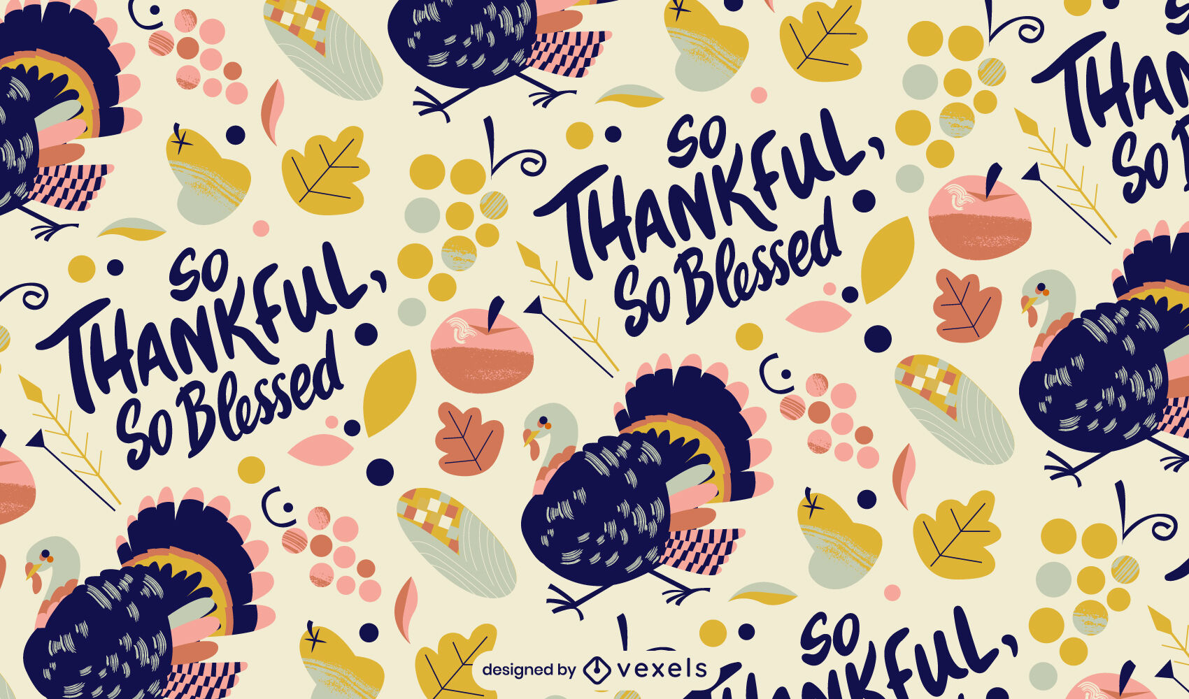 Diseño de patrón de pavo de vacaciones de acción de gracias