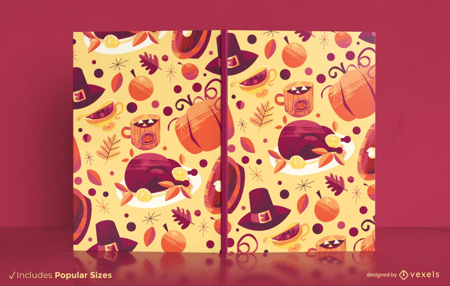 Design da capa do livro do feriado do jantar de Ação de Graças