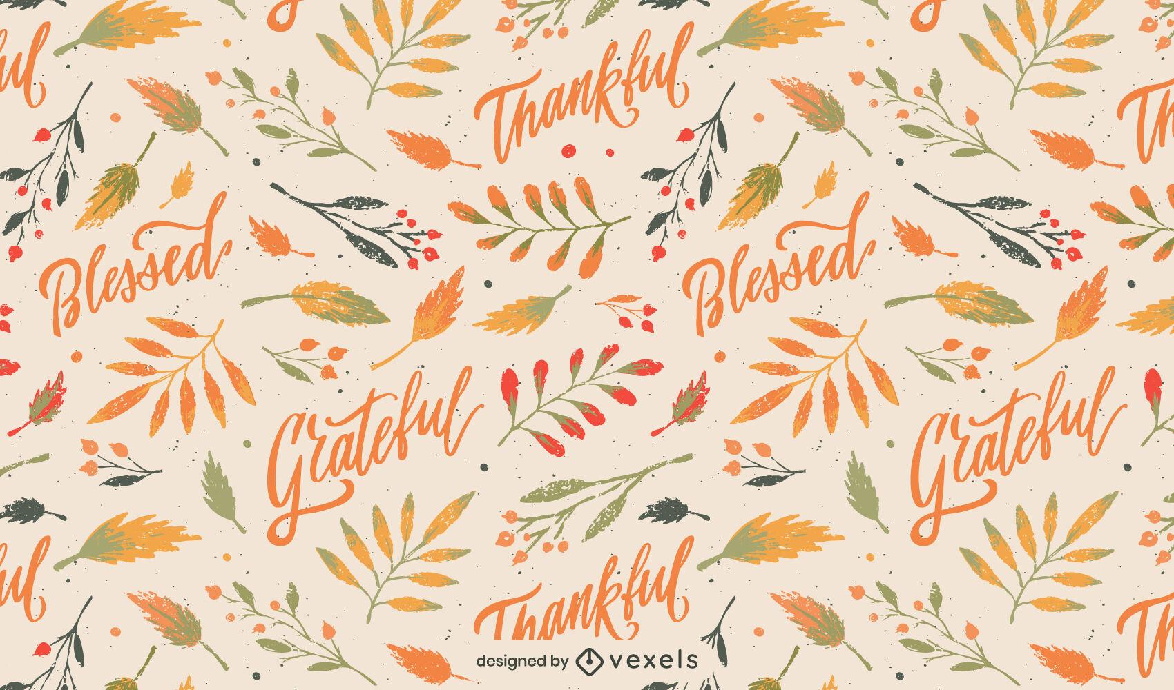 Diseño de patrón de naturaleza de letras de acción de gracias