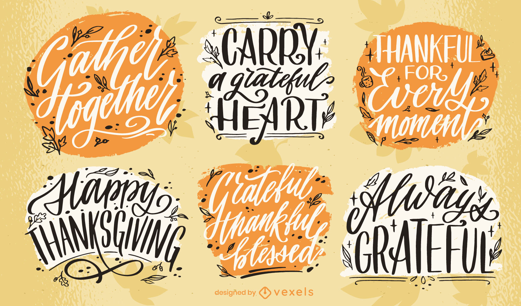 Thanksgiving holiday lettering badge set