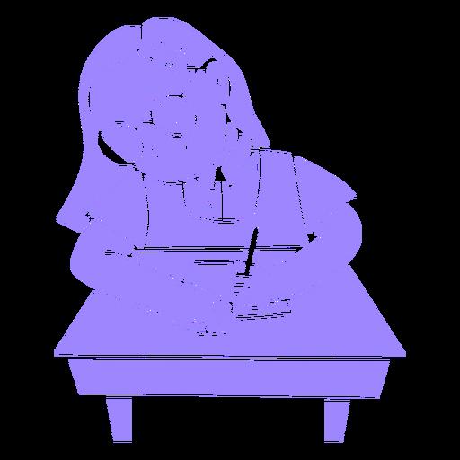 Cartoon child girl writing