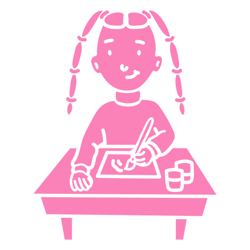 Child girl student painting