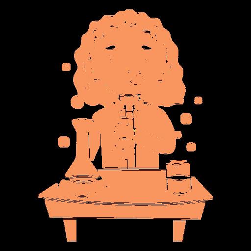 Child girl chemistry student