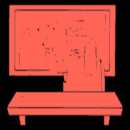 Teacher on blackboard